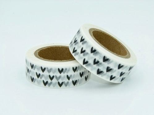 W005 - Masking tape blanc coeurs noirs
