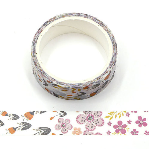 Masking tape motif fleurs violettes  15mm x 5m