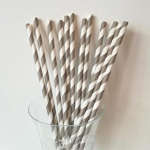 25 pailles papier rayures grises et blanches