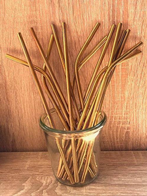 4 Pailles inox or 21 cm, courbées ou droites, zéro déchet
