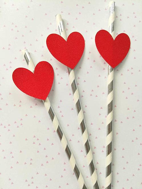 Pailles coeur paillettes rouge rayures argentées métalliques evjf anniv