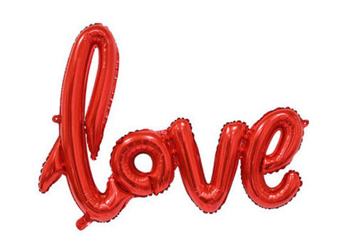Ballon mylar love taille 108 x 63 cm rouge