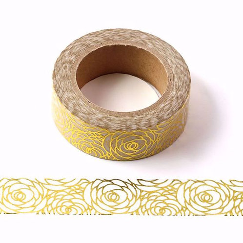 F005 - Masking tape métallique 15mm Foil Fleurs Dorées