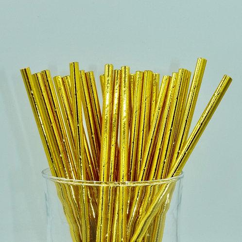 25 pailles papier or dorée métallique