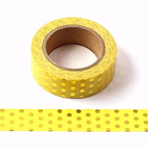 Masking tape foil jaune pois dorés 15mm x 10m