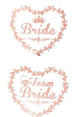 6Tatouages temporaires Team bride et Bride - EVJF mariée - ROSE GOLD