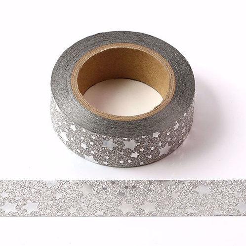 Masking tape paillettes étoiles argentées glitter 15mm x 5m