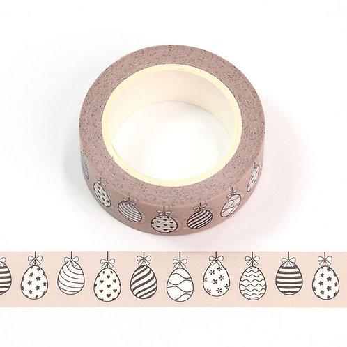 W571 - Masking tape 15 mm motif quadrillage oeuf de Pâques