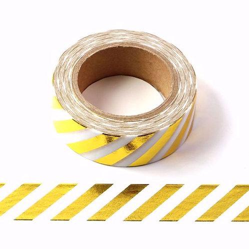 F009 - Masking tape métallique 15mm foil Rayures Dorées