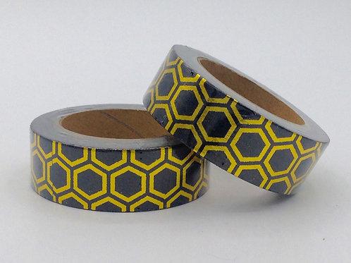F022 - Masking tape motif abeilles noir et doré