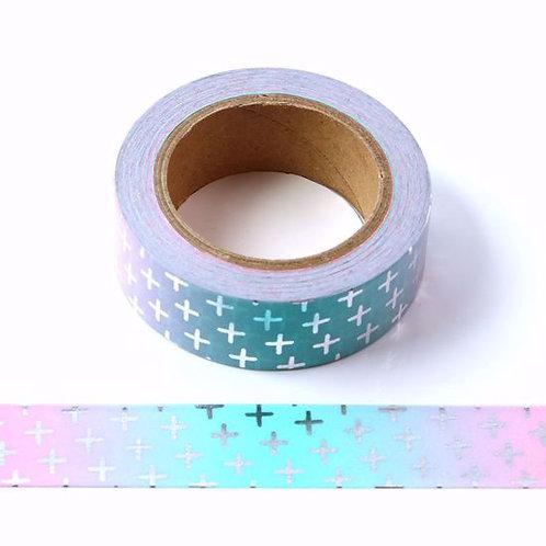 F127 - Masking tape métallique 15mm foil rose bleu croix argent