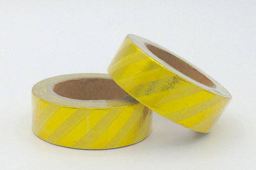 F059 - Masking tape foil jaune rayures dorées