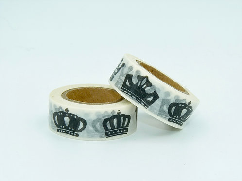 W145 - Masking tape couronnes noir et blanc