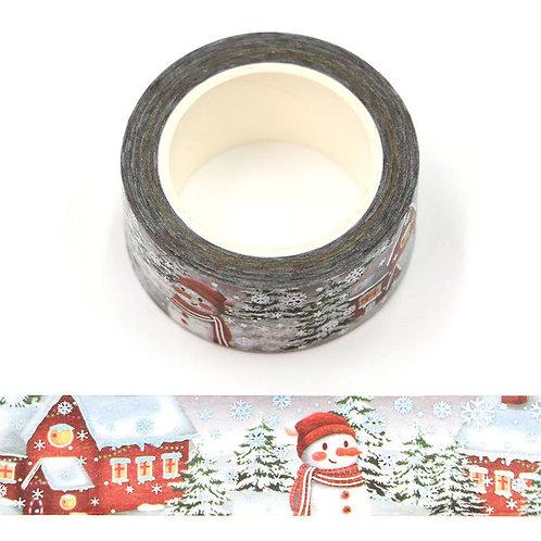 Masking tape  métallique 15 mm motif bonhomme de neige