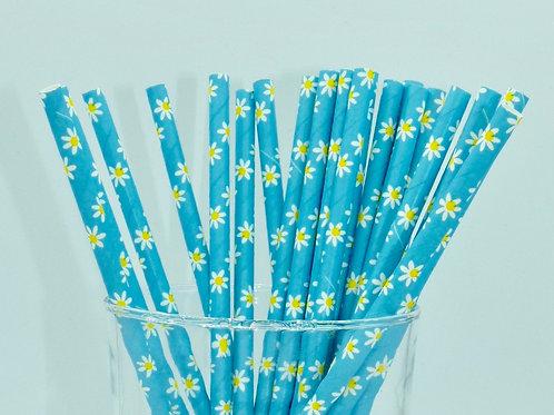 25 pailles papier bleu fleurs jaunes