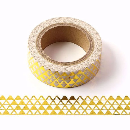 F067- Masking tape métallique 15mm foil motifs triangles dorés