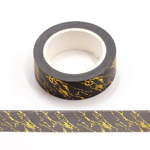 Masking tape métallique marbre doré et noir 15mm x 10m
