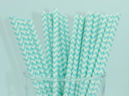 25 pailles papier rayures chevrons bleu clair  anniversaire candy
