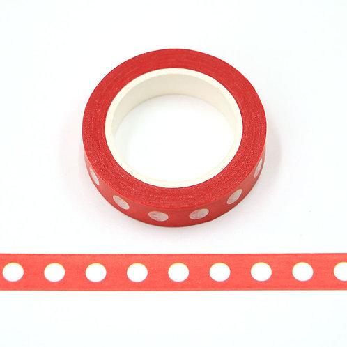 Masking tape 15 mm motif rouges pois blancs