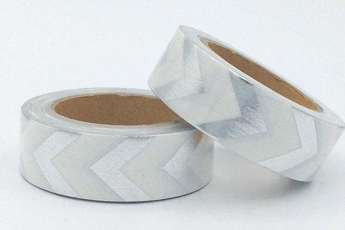 F070- Masking tape foil blanc chevrons argent