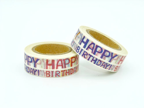 Masking tape Happy Birthday anniversaire enfant design  15m x 10m