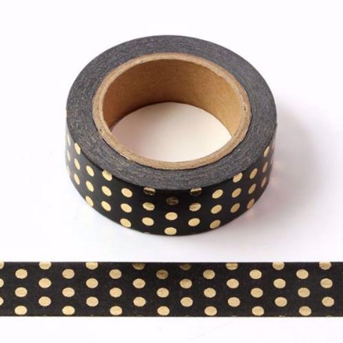 F026- Masking Tape métallique 15mm Noir pois dorés