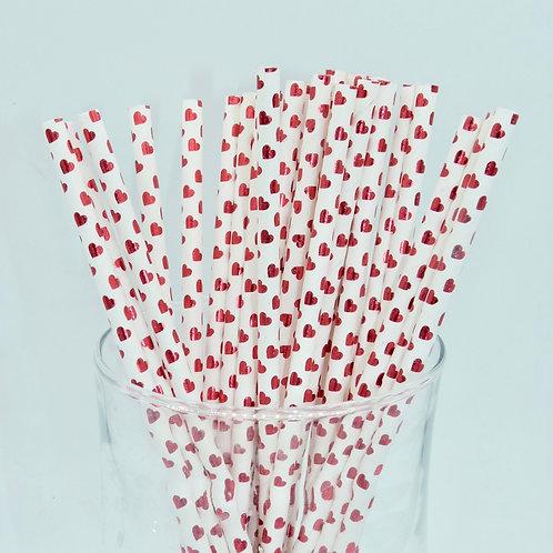 25 pailles papier blanc coeur rouge métallique