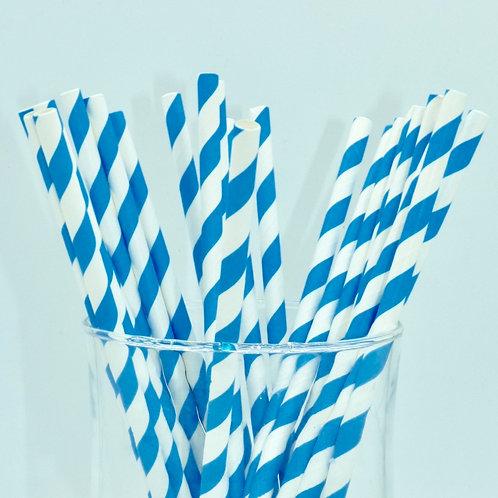 copie de 25 pailles papier chevrons rayure bleu  anniversaire candy