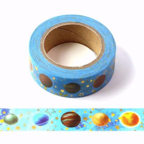 Masking tape metallique bleu planètes