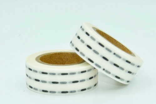W020 - Masking tape blanc traits noirs