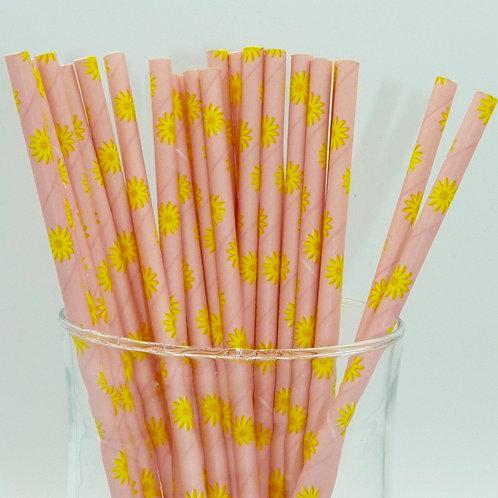 25 pailles papier rose soleil jaune  anniversaire candy