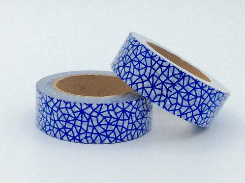 F084- Masking tape foil blanc motif design bleu marine