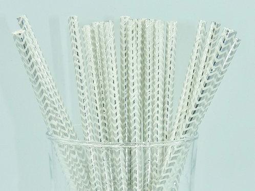 25 pailles papier blanc chevrons argent métallique