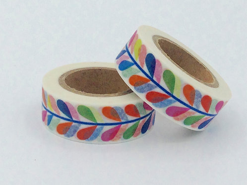 W235-  Masking tape gouttes colorées fun  enfant design 15mm