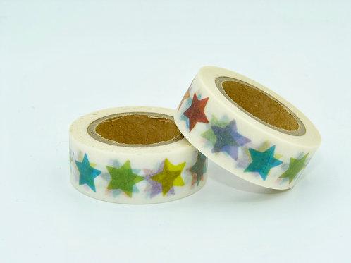 W195 - Masking tape étoiles colorées
