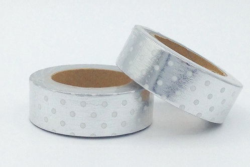 F069- Masking tape foil argent pois blancs