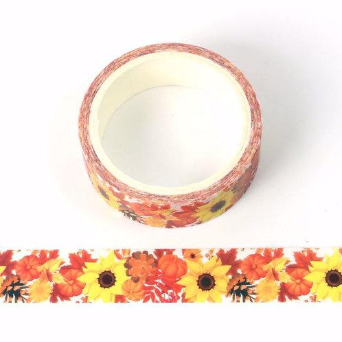 W536 - Masking tape 15 mm  fleurs tournesol