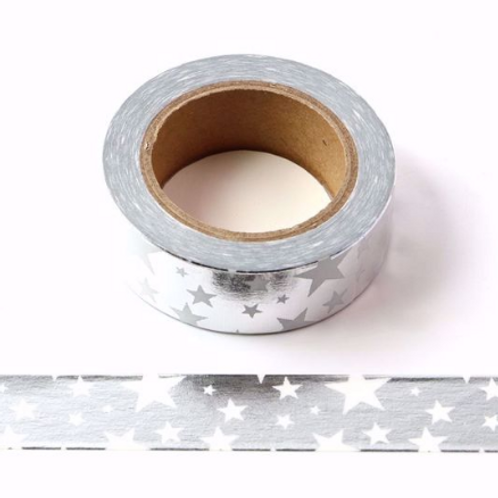 Masking tape métallique 15mm foil argent étoiles blanches