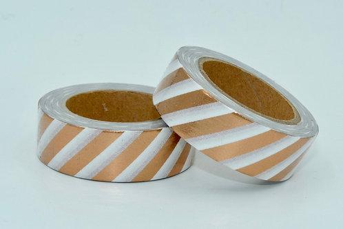 F093- Masking tape foil blanc rayures cuivre