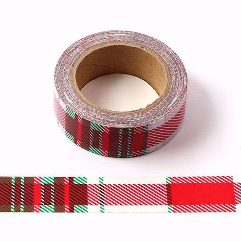 Masking tape tartan rouge 15mm x 10m