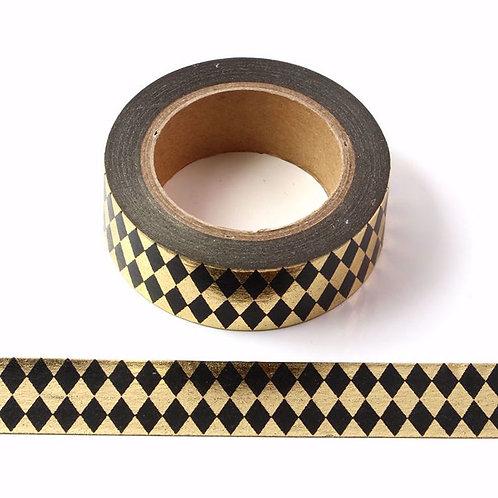 Masking tape Foil doré losanges noirs métalliques 15mm x 10m