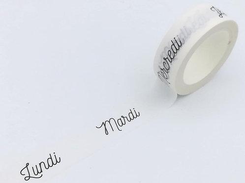 W408-  Masking tape jours de la semaine design exclusif I Day of the week custom