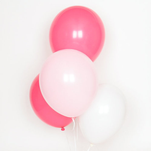 10 Ballons latex 30 cm Thème rose et blanc