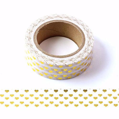 F011 - Masking tape métallique 15mm Foil coeurs dorés