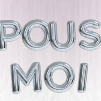 Bannière Ballons Lettres 40 cm Mylar Argent EPOUSE MOI