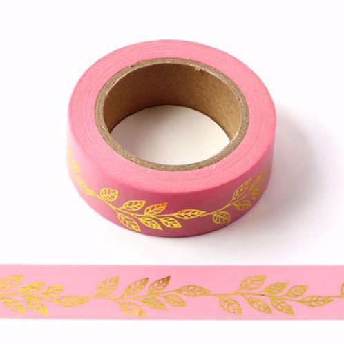 Masking tape foil rose feuille or 15mm x 10m