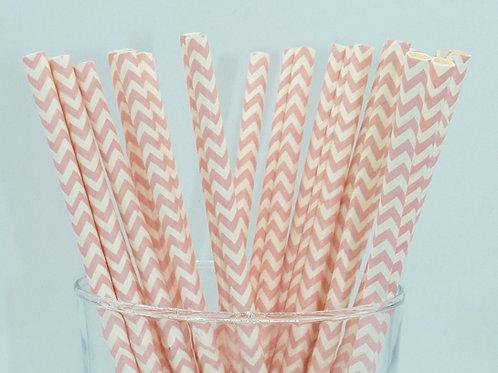 25 pailles papier chevrons rose clair  anniversaire candy