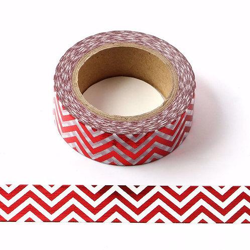 Masking tape foil blanc zig zag rouge 15mm x 10m