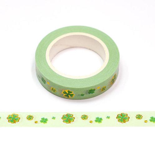 F171 - Masking tape métallique motif vert trèfle à 4 feuilles