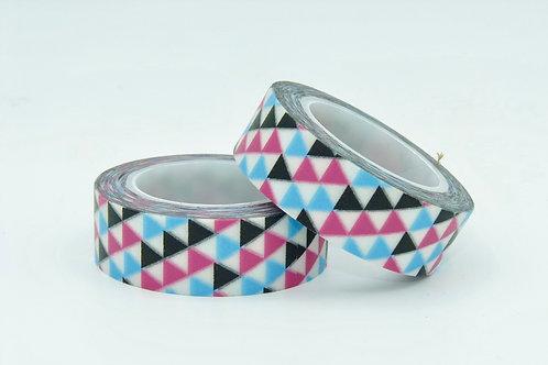 W150-  Masking tape triangles colorés  design  15mm